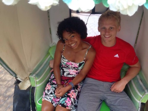 Blond White guy and Cute Black girl couple